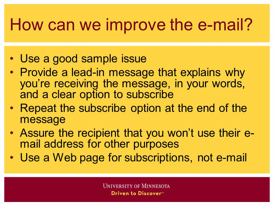 How can we improve the e-mail.