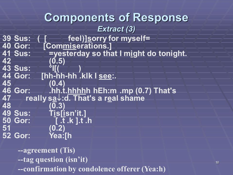 10 Components of Response Extract (3) 39 Sus: ( [ feel)]sorry for myself= 40Gor: [Commiserations.] 41Sus:=yesterday so that I might do tonight.