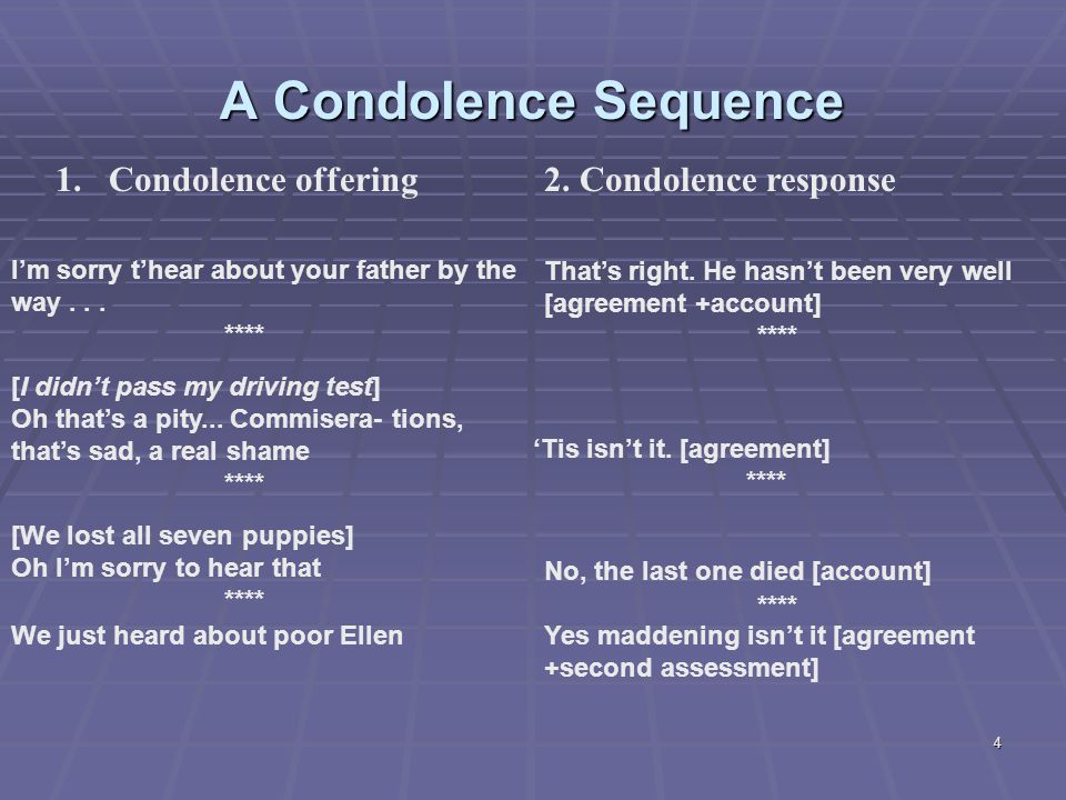 4 A Condolence Sequence 1.Condolence offering I'm sorry t'hear about your father by the way...