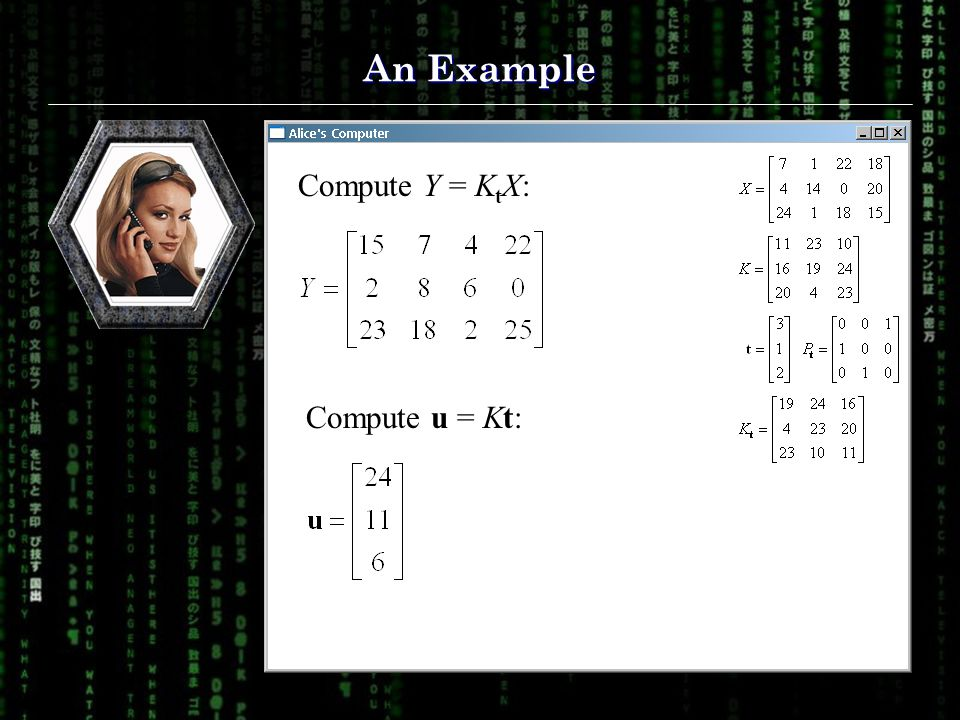 An Example Compute Y = K t X: Compute u = Kt: