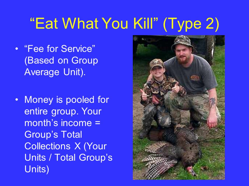 Eat What You Kill (Type 2) Fee for Service (Based on Group Average Unit).