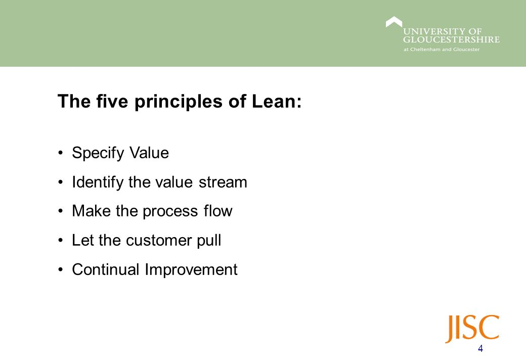 The five principles of Lean: 4 Specify Value Identify the value stream Make the process flow Let the customer pull Continual Improvement