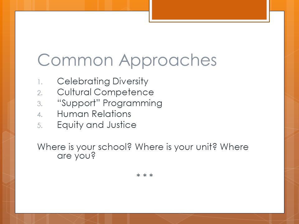 Common Approaches 1. Celebrating Diversity 2. Cultural Competence 3.