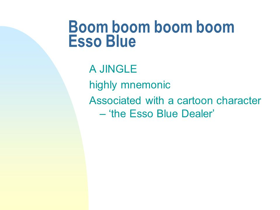 Boom boom boom boom Esso Blue A JINGLE highly mnemonic Associated with a cartoon character – 'the Esso Blue Dealer'