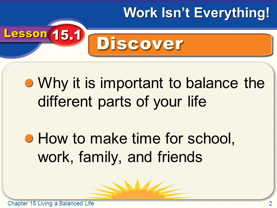2 Chapter 15 Living a Balanced Life Work Isn't Everything.