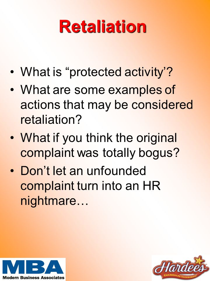 Retaliation What is protected activity'.