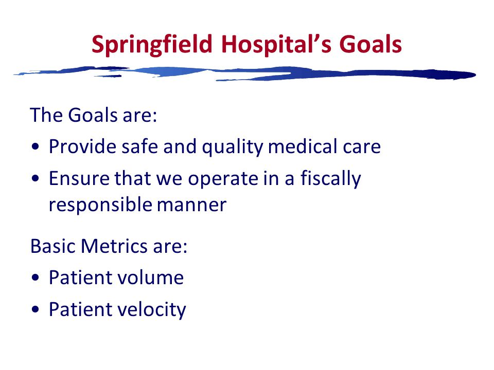 Springfield Hospital's Goals The Goals are: Provide safe and quality medical care Ensure that we operate in a fiscally responsible manner Basic Metrics are: Patient volume Patient velocity