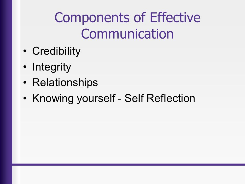 Components of Effective Communication Credibility Integrity Relationships Knowing yourself - Self Reflection