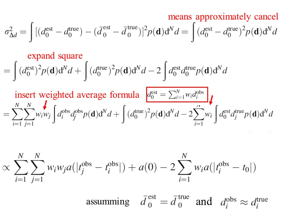 assumming and means approximately cancel expand square insert weighted average formula j