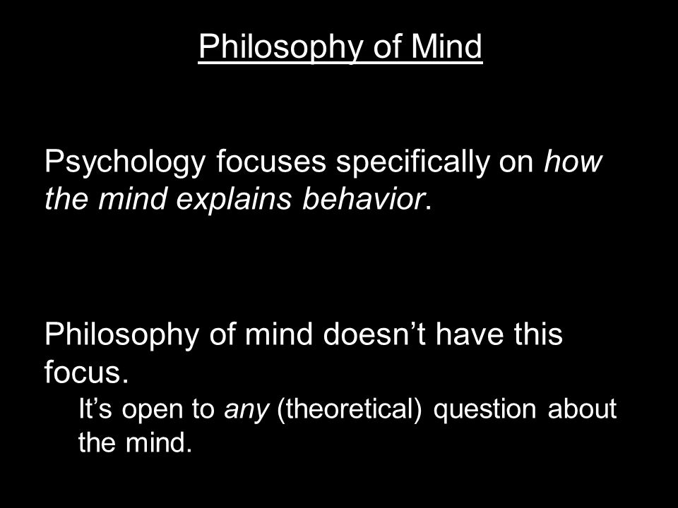 Philosophy of Mind Psychology focuses specifically on how the mind explains behavior.