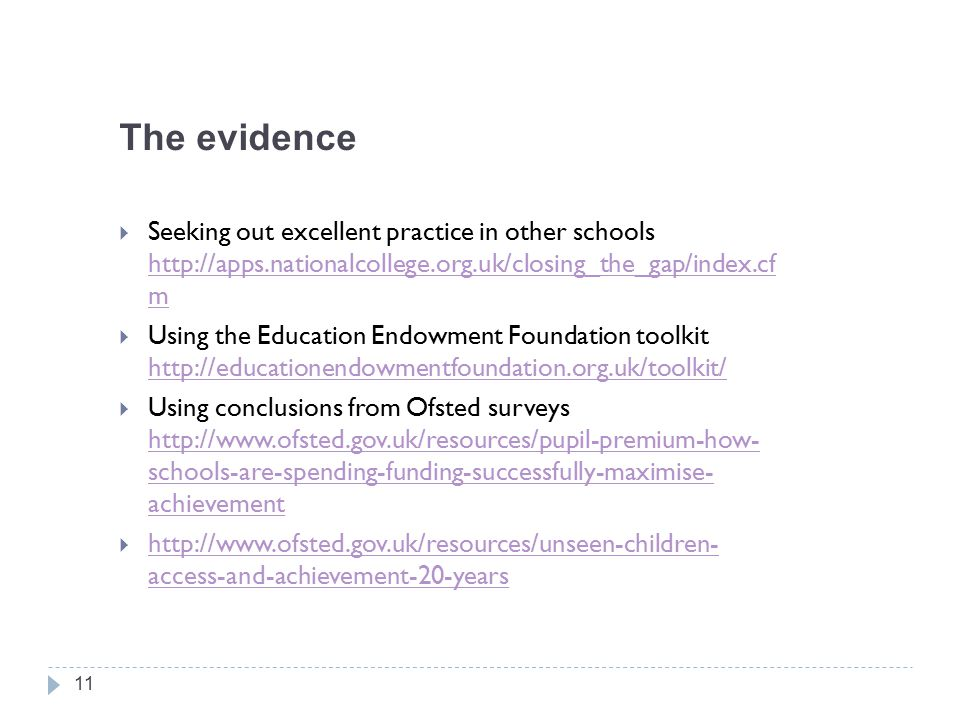 The evidence  Seeking out excellent practice in other schools http://apps.nationalcollege.org.uk/closing_the_gap/index.cf m http://apps.nationalcollege.org.uk/closing_the_gap/index.cf m  Using the Education Endowment Foundation toolkit http://educationendowmentfoundation.org.uk/toolkit/ http://educationendowmentfoundation.org.uk/toolkit/  Using conclusions from Ofsted surveys http://www.ofsted.gov.uk/resources/pupil-premium-how- schools-are-spending-funding-successfully-maximise- achievement http://www.ofsted.gov.uk/resources/pupil-premium-how- schools-are-spending-funding-successfully-maximise- achievement  http://www.ofsted.gov.uk/resources/unseen-children- access-and-achievement-20-years http://www.ofsted.gov.uk/resources/unseen-children- access-and-achievement-20-years 11