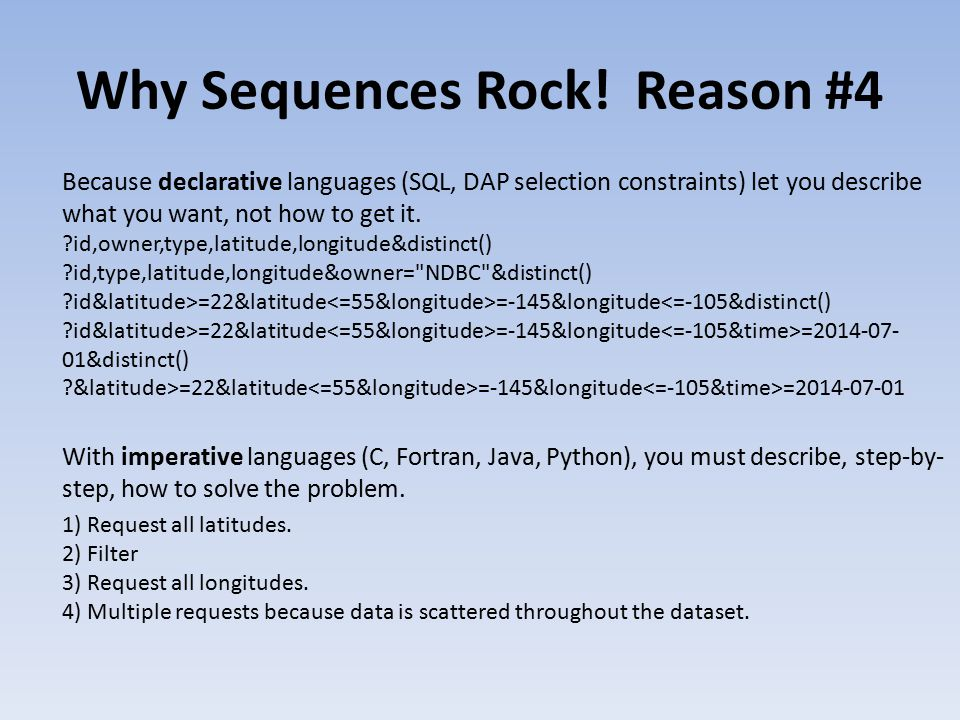 Why Sequences Rock.