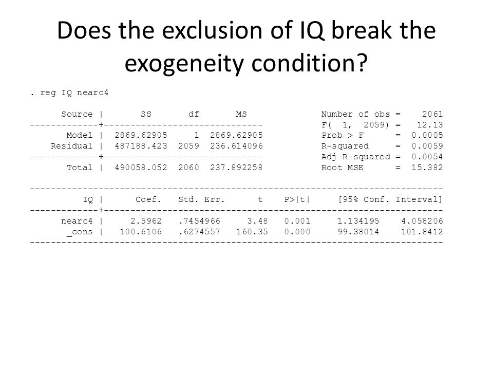 Does the exclusion of IQ break the exogeneity condition .