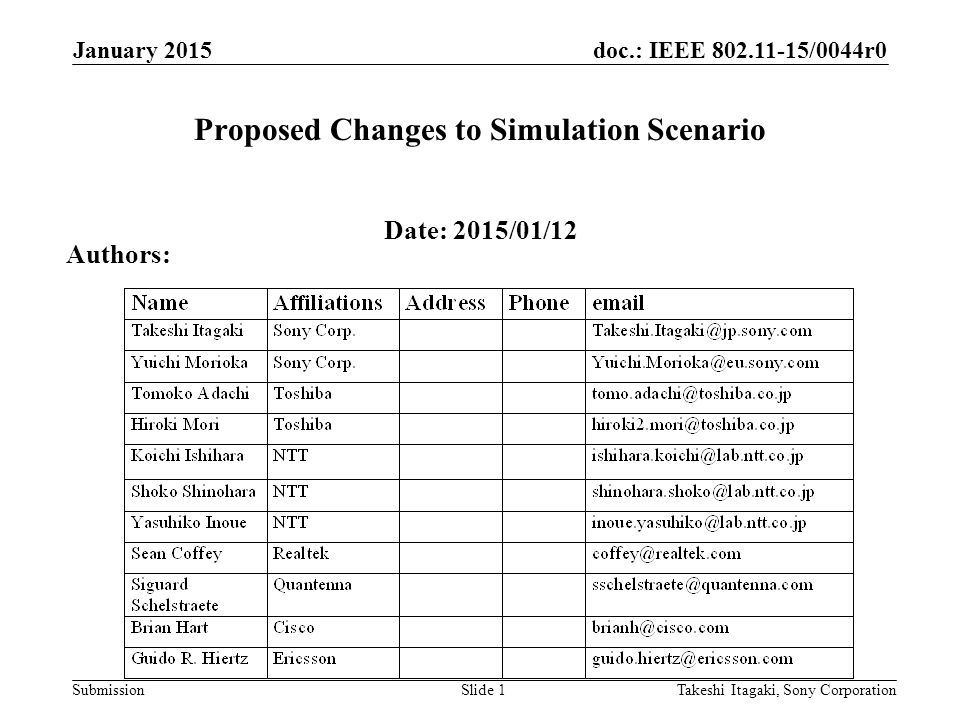 doc.: IEEE /0044r0 Submission Proposed Changes to Simulation Scenario Date: 2015/01/12 Takeshi Itagaki, Sony CorporationSlide 1 Authors: January 2015