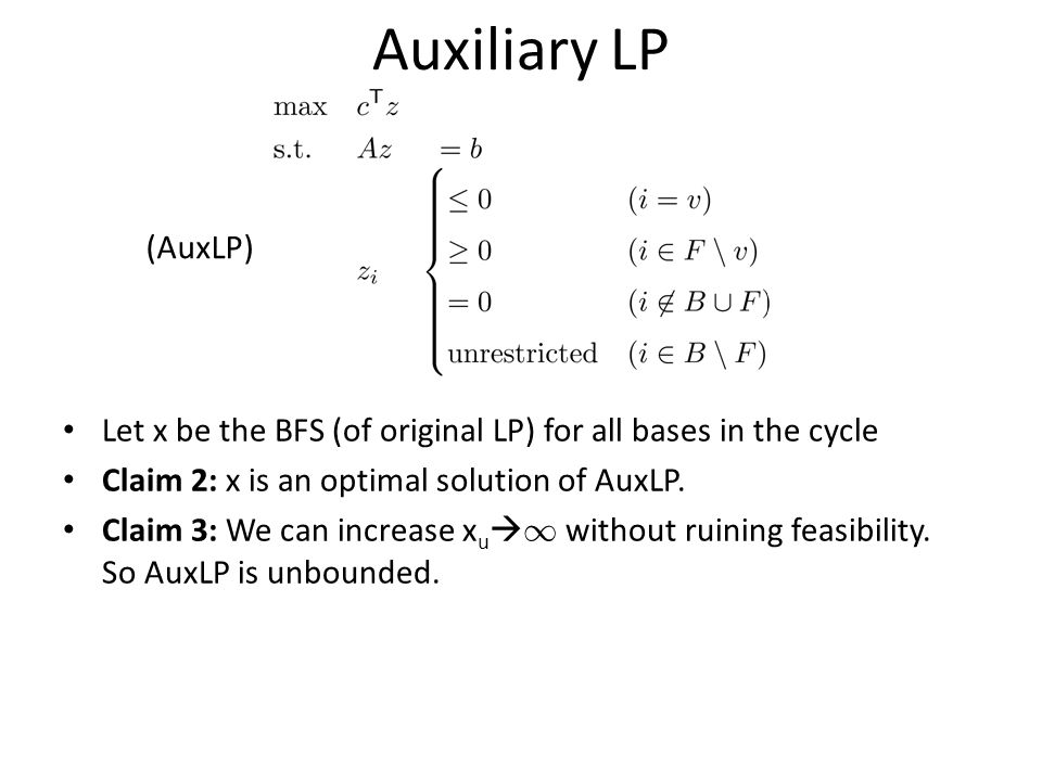 Auxiliary LP Let x be the BFS (of original LP) for all bases in the cycle Claim 2: x is an optimal solution of AuxLP.
