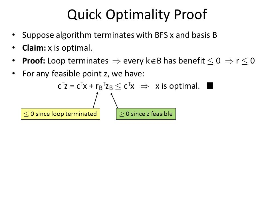 Quick Optimality Proof Suppose algorithm terminates with BFS x and basis B Claim: x is optimal.