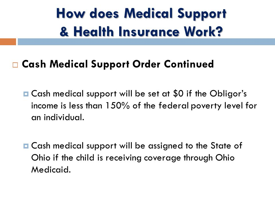 How does Medical Support & Health Insurance Work.
