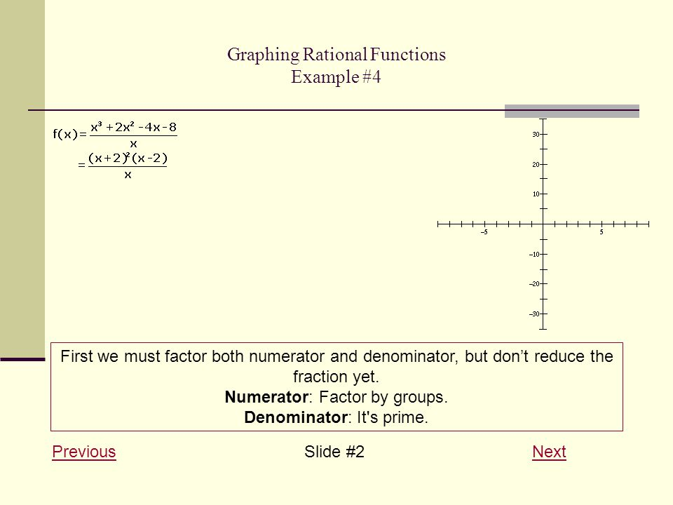Graphing Rational Functions Example #4 PreviousPreviousSlide #2 NextNext First we must factor both numerator and denominator, but don't reduce the fraction yet.