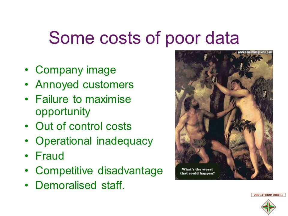 Some costs of poor data Company image Annoyed customers Failure to maximise opportunity Out of control costs Operational inadequacy Fraud Competitive disadvantage Demoralised staff.