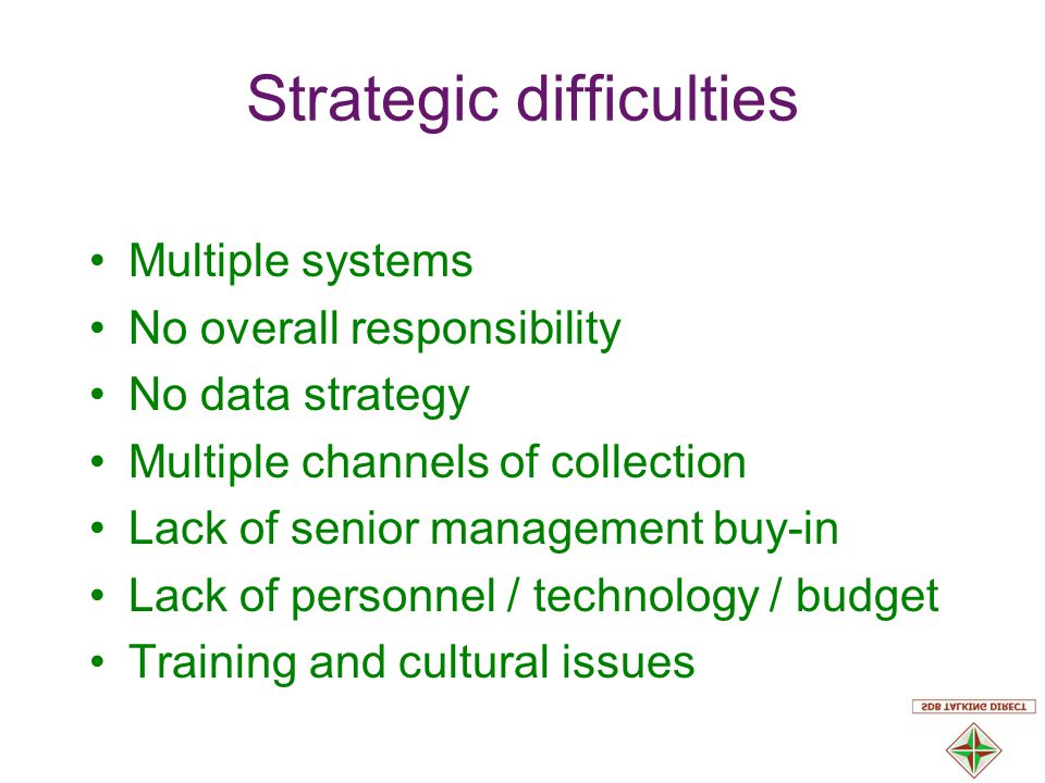 Strategic difficulties Multiple systems No overall responsibility No data strategy Multiple channels of collection Lack of senior management buy-in Lack of personnel / technology / budget Training and cultural issues