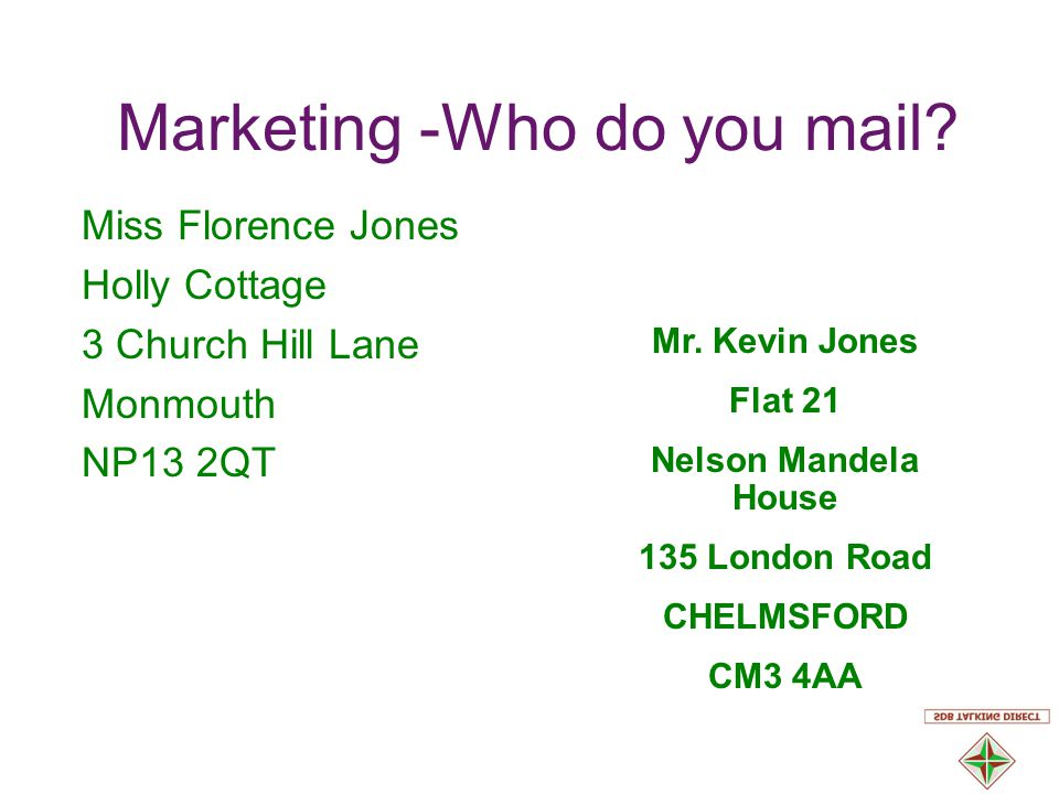 Marketing -Who do you mail.