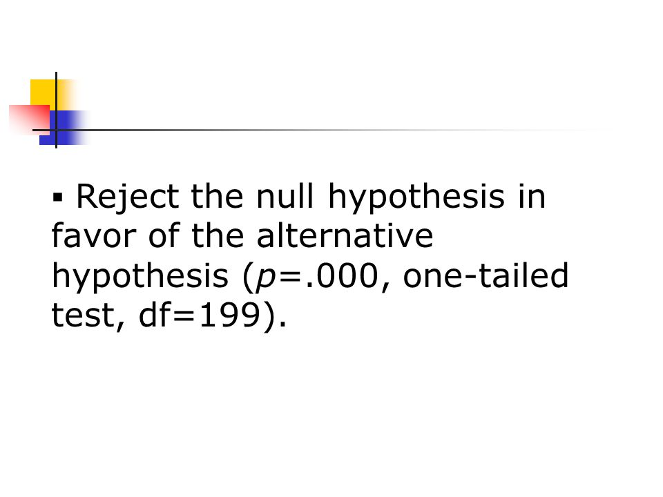  Reject the null hypothesis in favor of the alternative hypothesis (p=.000, one-tailed test, df=199).