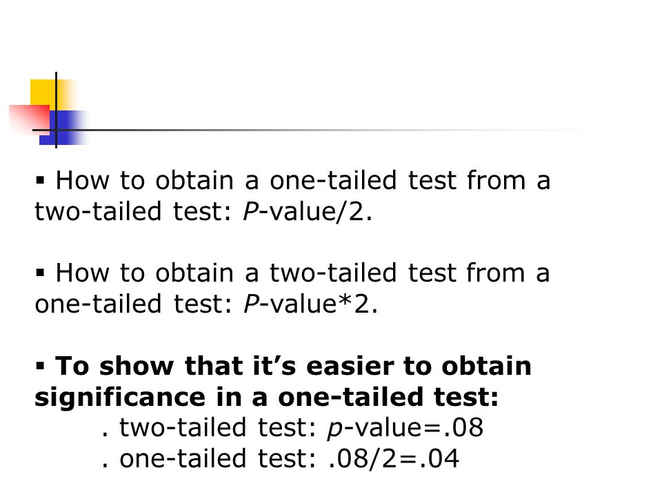  How to obtain a one-tailed test from a two-tailed test: P-value/2.
