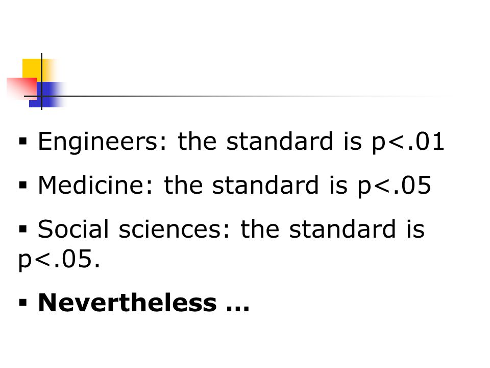  Engineers: the standard is p<.01  Medicine: the standard is p<.05  Social sciences: the standard is p<.05.