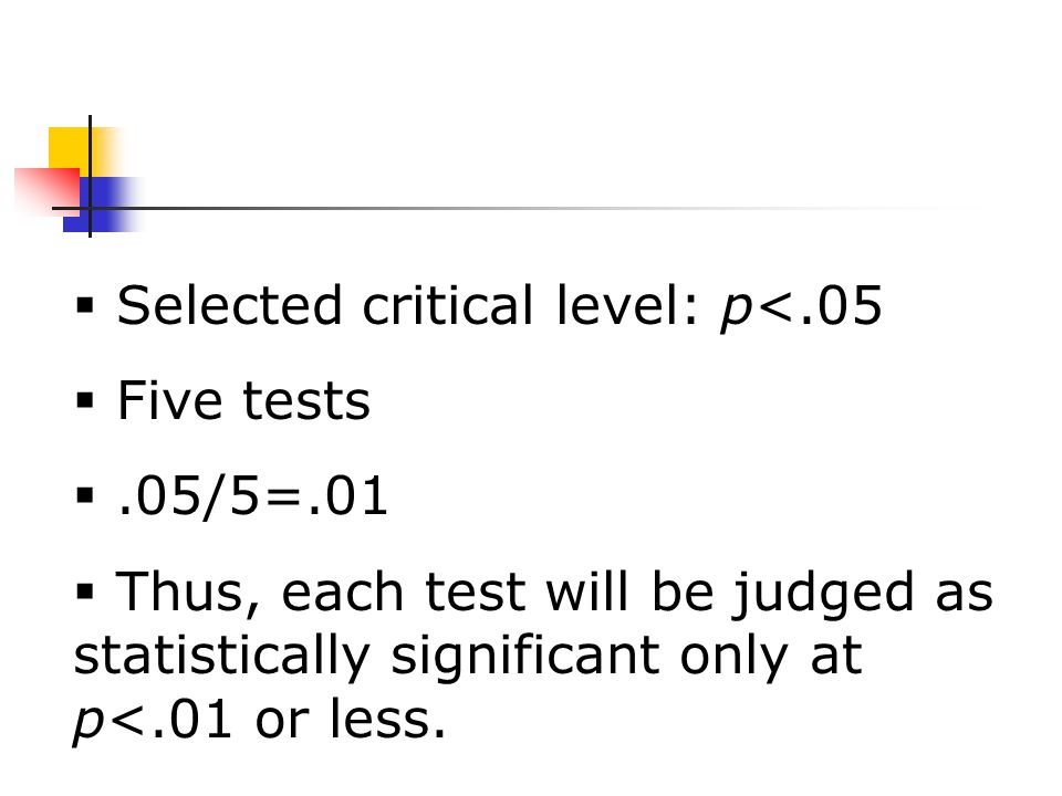 Selected critical level: p<.05  Five tests .05/5=.01  Thus, each test will be judged as statistically significant only at p<.01 or less.