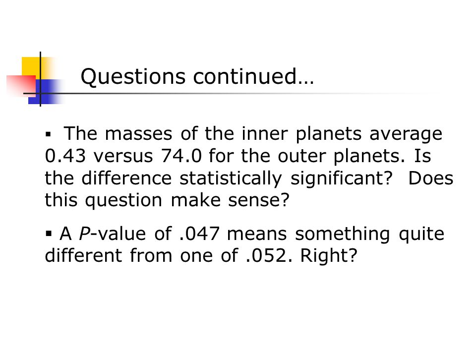  The masses of the inner planets average 0.43 versus 74.0 for the outer planets.
