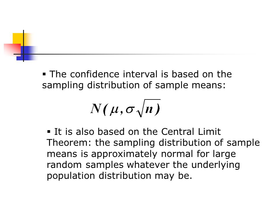  The confidence interval is based on the sampling distribution of sample means:  It is also based on the Central Limit Theorem: the sampling distribution of sample means is approximately normal for large random samples whatever the underlying population distribution may be.