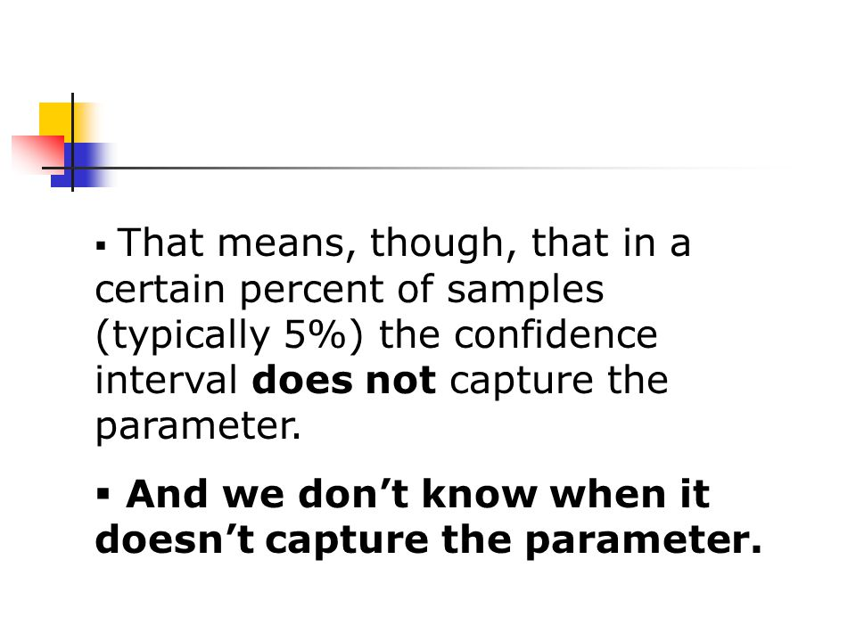  That means, though, that in a certain percent of samples (typically 5%) the confidence interval does not capture the parameter.