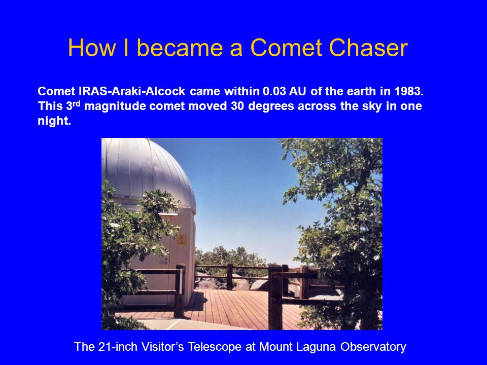 Comet IRAS-Araki-Alcock came within 0.03 AU of the earth in 1983.