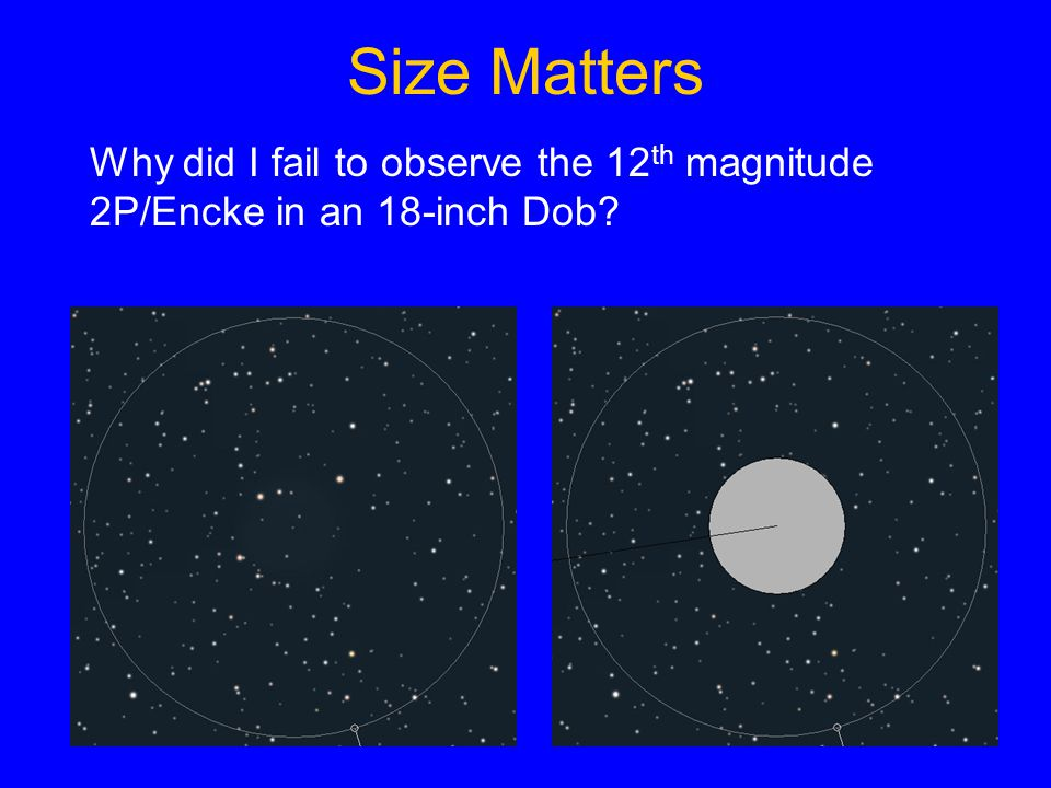 Size Matters Why did I fail to observe the 12 th magnitude 2P/Encke in an 18-inch Dob