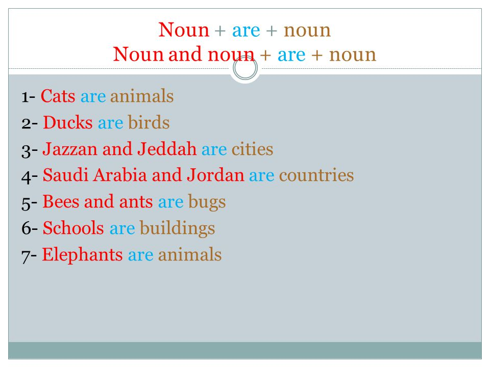 Noun + are + noun Noun and noun + are + noun 1- Cats are animals 2- Ducks are birds 3- Jazzan and Jeddah are cities 4- Saudi Arabia and Jordan are countries 5- Bees and ants are bugs 6- Schools are buildings 7- Elephants are animals