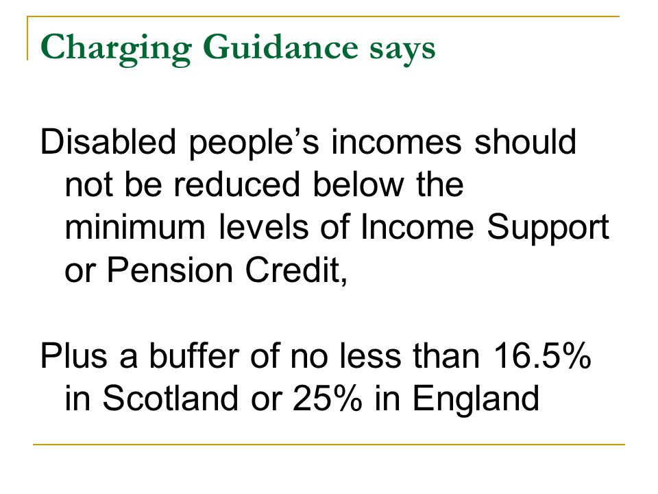 Charging Guidance says Disabled people's incomes should not be reduced below the minimum levels of Income Support or Pension Credit, Plus a buffer of no less than 16.5% in Scotland or 25% in England