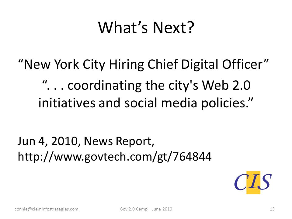 What's Next. New York City Hiring Chief Digital Officer ...