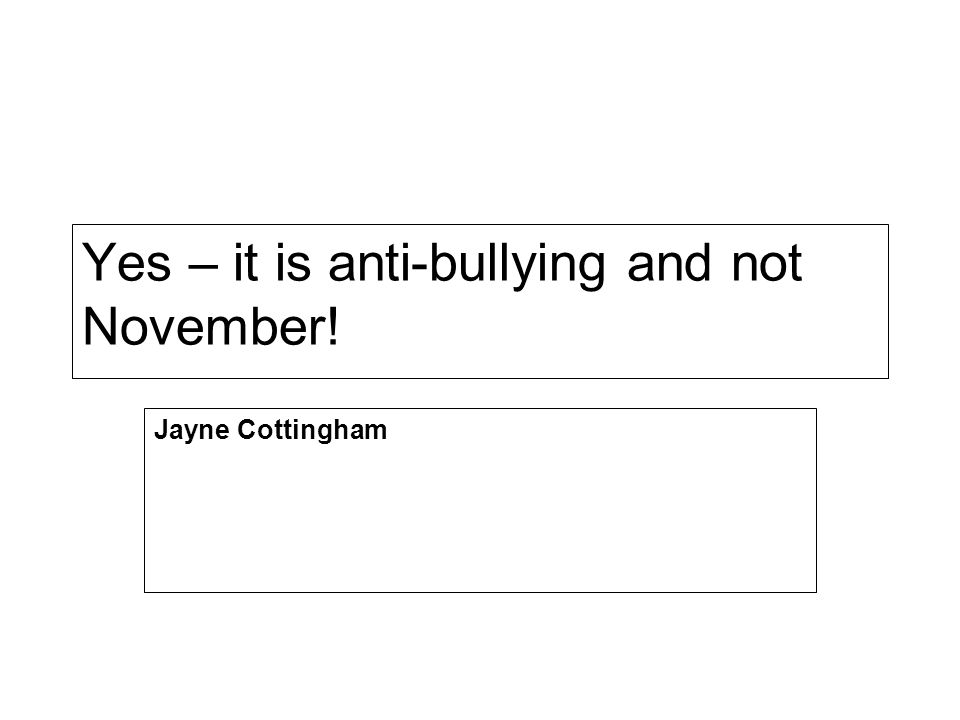 Yes – it is anti-bullying and not November! Jayne Cottingham