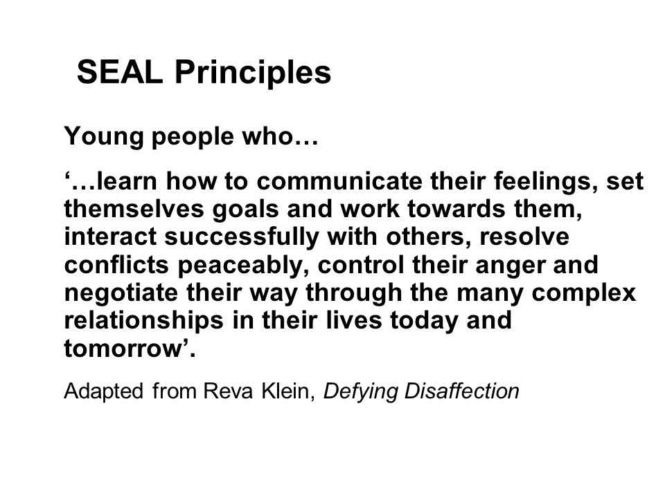 SEAL Principles Young people who… '…learn how to communicate their feelings, set themselves goals and work towards them, interact successfully with others, resolve conflicts peaceably, control their anger and negotiate their way through the many complex relationships in their lives today and tomorrow'.