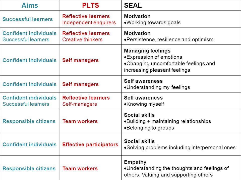AimsPLTSSEAL Successful learners Reflective learners Independent enquirers Motivation  Working towards goals Confident individuals Successful learners Reflective learners Creative thinkers Motivation  Persistence, resilience and optimism Confident individualsSelf managers Managing feelings  Expression of emotions  Changing uncomfortable feelings and increasing pleasant feelings Confident individualsSelf managers Self awareness  Understanding my feelings Confident individuals Successful learners Reflective learners Self-managers Self awareness  Knowing myself Responsible citizensTeam workers Social skills  Building + maintaining relationships  Belonging to groups Confident individualsEffective participators Social skills  Solving problems including interpersonal ones Responsible citizensTeam workers Empathy  Understanding the thoughts and feelings of others, Valuing and supporting others