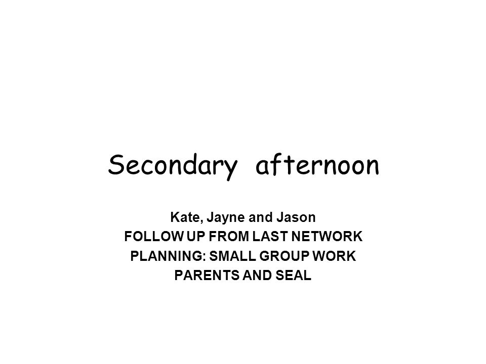 Secondary afternoon Kate, Jayne and Jason FOLLOW UP FROM LAST NETWORK PLANNING: SMALL GROUP WORK PARENTS AND SEAL