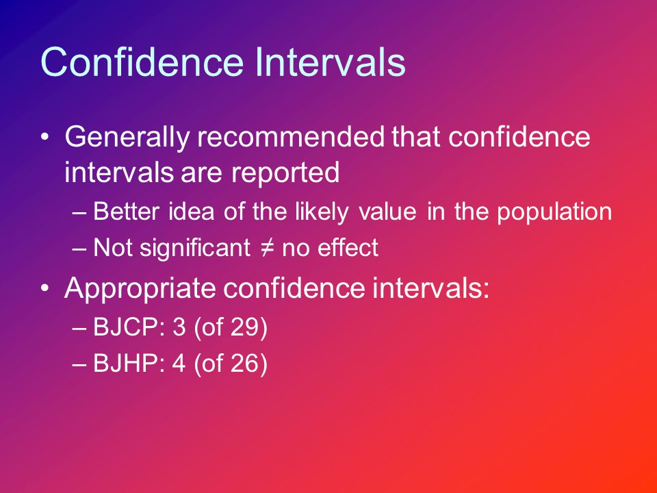 Confidence Intervals Generally recommended that confidence intervals are reported –Better idea of the likely value in the population –Not significant ≠ no effect Appropriate confidence intervals: –BJCP: 3 (of 29) –BJHP: 4 (of 26)