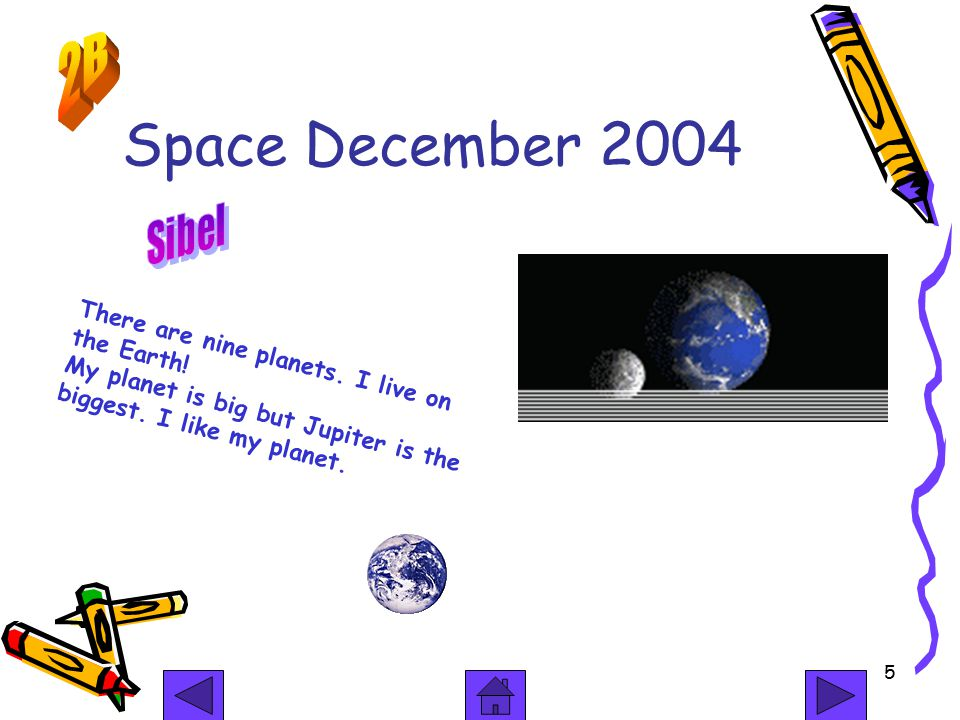 5 Space December 2004 There are nine planets. I live on the Earth.