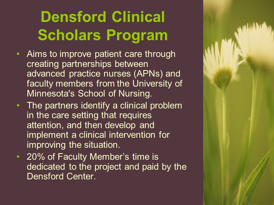 Densford Clinical Scholars Program Aims to improve patient care through creating partnerships between advanced practice nurses (APNs) and faculty members from the University of Minnesota s School of Nursing.