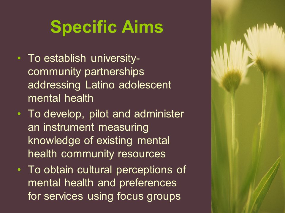 Specific Aims To establish university- community partnerships addressing Latino adolescent mental health To develop, pilot and administer an instrument measuring knowledge of existing mental health community resources To obtain cultural perceptions of mental health and preferences for services using focus groups