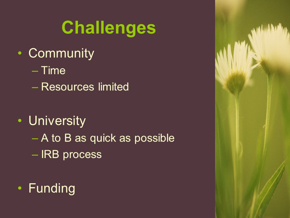 Challenges Community –Time –Resources limited University –A to B as quick as possible –IRB process Funding
