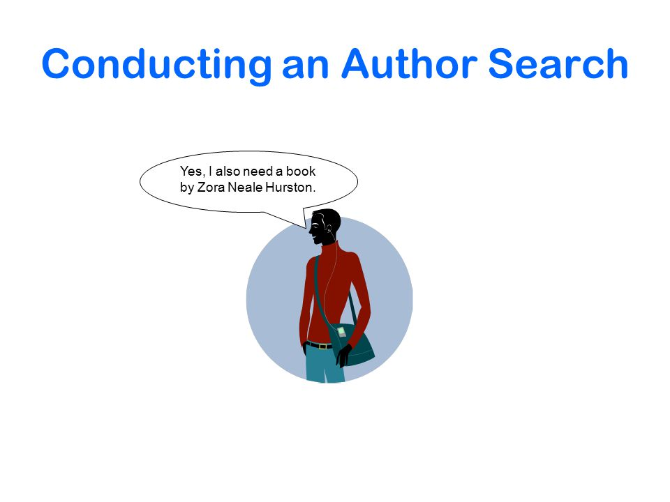 Conducting an Author Search Yes, I also need a book by Zora Neale Hurston.