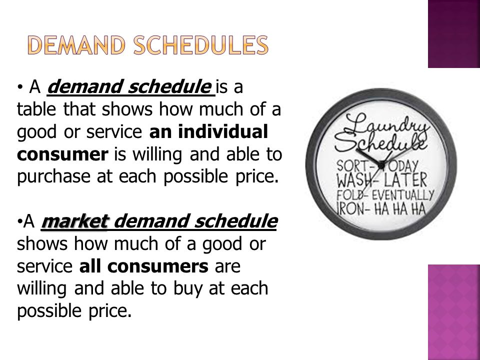A demand schedule is a table that shows how much of a good or service an individual consumer is willing and able to purchase at each possible price.