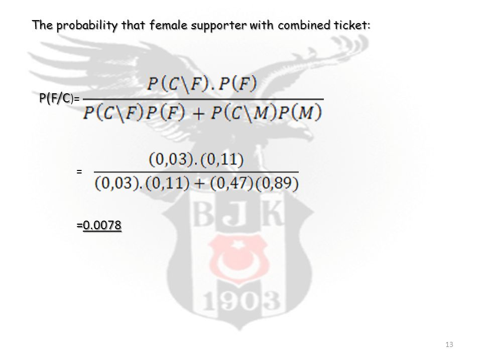 P(F/C P(F/C )= The probability that female supporter with combined ticket: = =0.0078 13