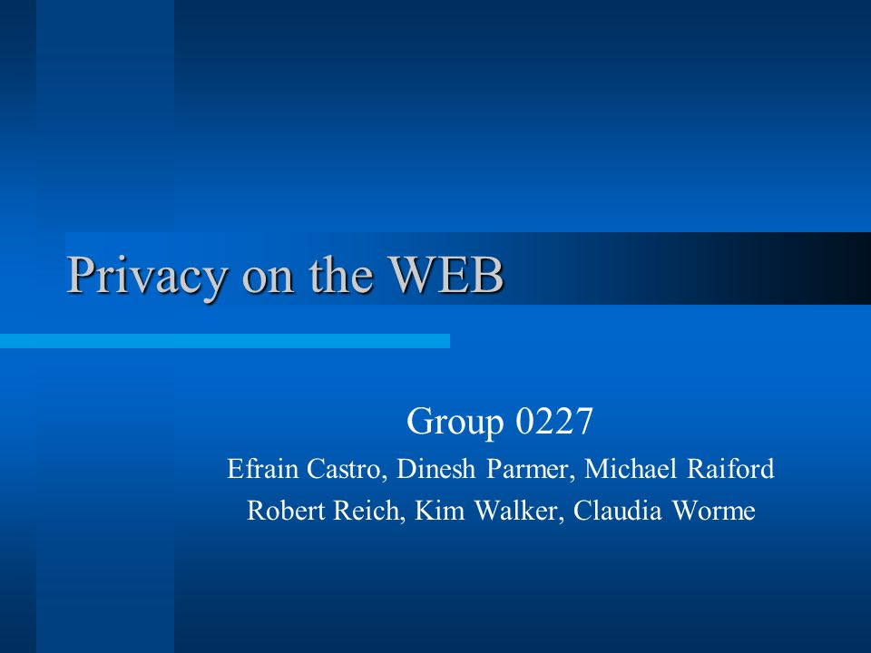 Privacy on the WEB Privacy on the WEB Group 0227 Efrain Castro, Dinesh Parmer, Michael Raiford Robert Reich, Kim Walker, Claudia Worme